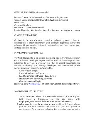 WEBINAR JEO REIVEW | WEBINAR JEO BONUS