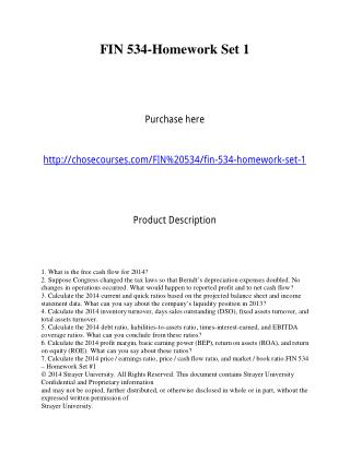 FIN 534-Homework Set 1   Purchase here  http://chosecourses.com/FIN 534/fin-534-homework-set-1   Product Description   1