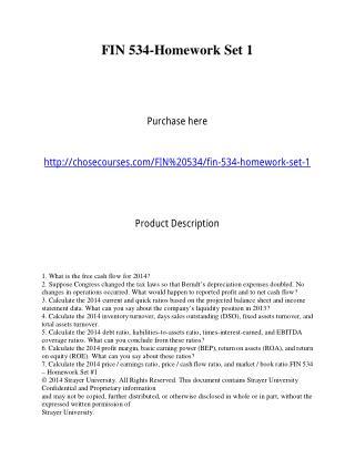 FIN 534-Homework Set 1