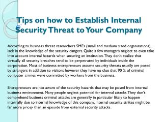 Tips on how to Establish Internal Security Threat to Your Company