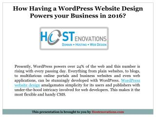 How Having a WordPress Website Design Powers your Business in 2016?