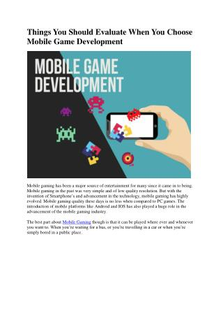 Things You Should Evaluate When You Choose Mobile Game Development