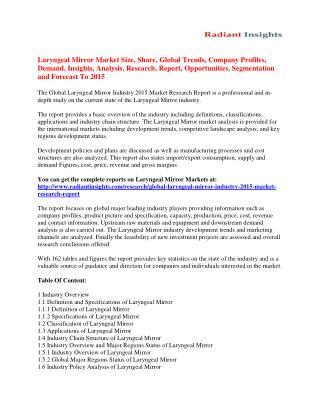 Laryngeal Mirror Market Analysis And Segment Forecasts To 2015