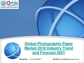 2016 International Photographic Paper  Industry Research Report