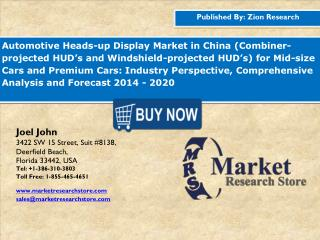 China Automotive Heads-up Display Market is Expected to Reach 2,869.0 Million in 2020