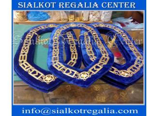 Masonic Blue house chain collar Gold