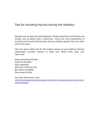 Tips for Avoiding Injuries during the Holidays