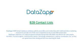 DataZapp for B2B Contact with Email Append and Phone Append