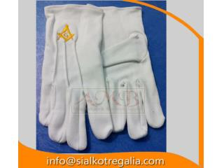 Masonic cotton Gloves with emblem