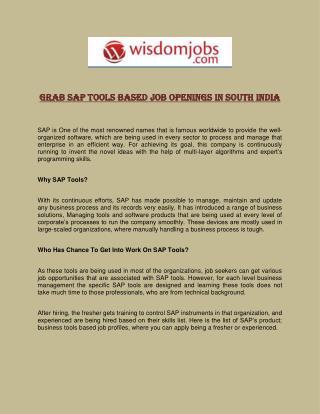 Grab SAP Tools Based Job Openings in South India
