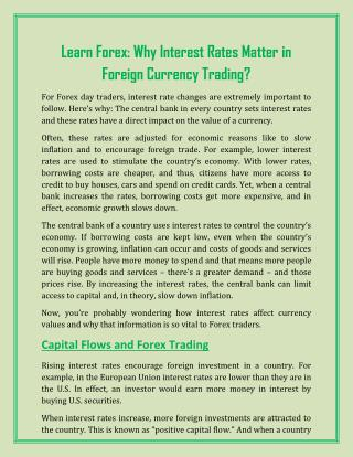 Learn Forex: Why Interest Rates Matter in Foreign Currency Trading?