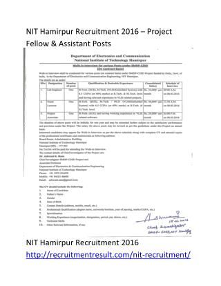 NIT Hamirpur Recruitment 2016 – Project Fellow & Assistant Posts