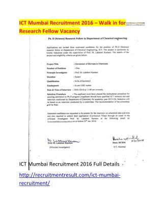 ICT Mumbai Recruitment 2016 � Walk in for Research Fellow Vacancy