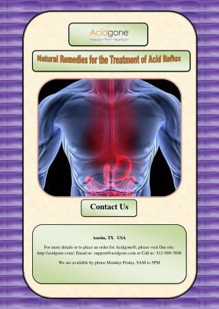 Natural Remedies for the Treatment of Acid Reflux