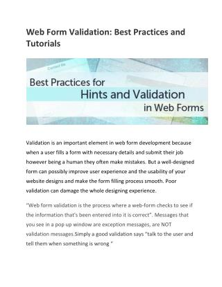Web Form Validation: Best Practices and Tutorials