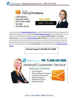 Hotmail Technical Support - 800-279-6226