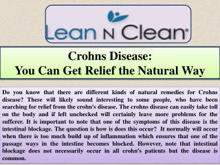 Crohns Disease:  You Can Get Relief the Natural Way