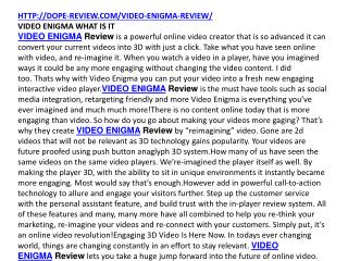 VIDEO ENIGMA REVIEW