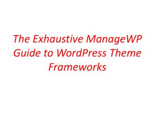 The Exhaustive Manage