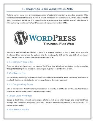 10 Reasons to Learn WordPress in 2016