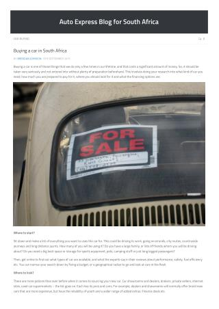 Buying a Car in South Africa - Auto-Express
