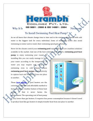 Swimming Pool Heat Pump Manufacturers Suppliers India