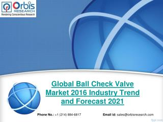 Forecast Report 2016-2021 On Global Ball Check Valve  Industry - Orbis Research