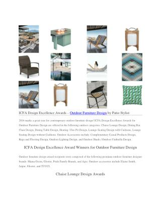ICFA Design Excellence Awards – Outdoor Furniture Design