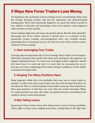 5 Ways New Forex Traders Lose Money