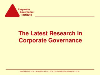 The Latest Research in Corporate Governance