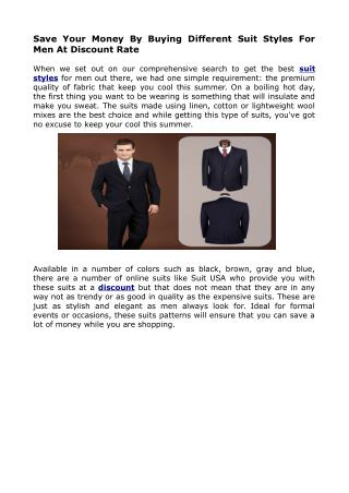 Latest Men Suit Styles