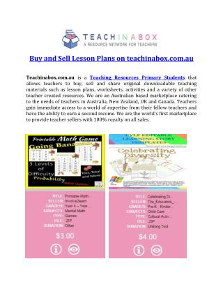 Buy and Sell Lesson Plans on teachinabox.com.au