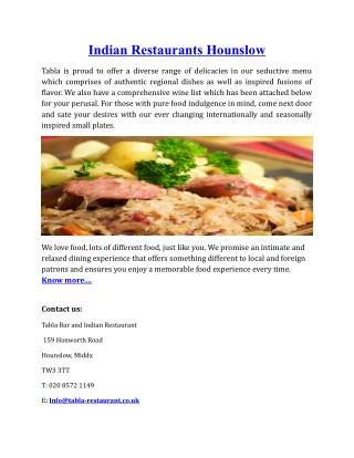 Indian Restaurants Hounslow