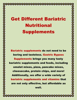 Get Different Bariatric Nutritional Supplements