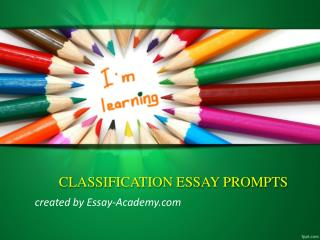 Classification Essay Prompts