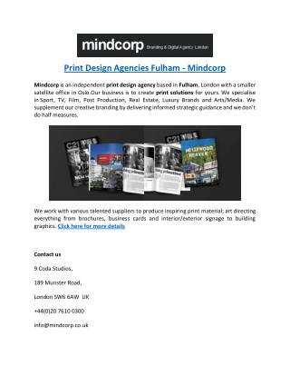 Print Design Agencies Fulham - Mindcorp