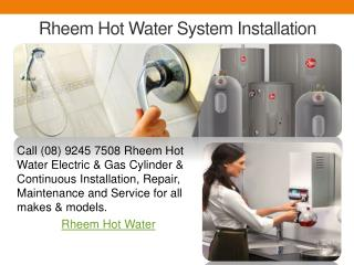 Rheem Hot Water System Installation