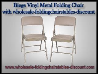 Biege Vinyl Metal Folding Chair with wholesale-foldingchairstables-discount