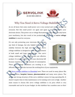 Servo Voltage Stabilizer Manufacturers Suppliers India
