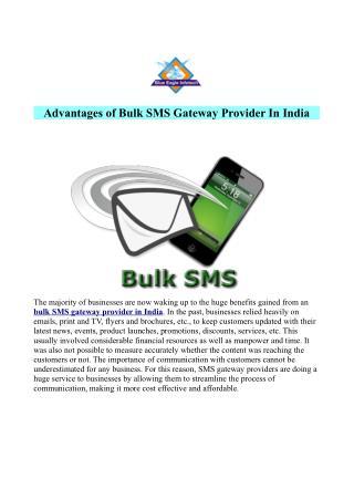 Advantages of Bulk SMS Gateway Provider India