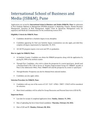 ISB&M Pune Admission Open for 2016