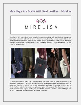 Men Bags Are Made With Real Leather – Mirelisa