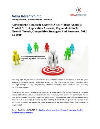 Acrylonitrile Butadiene Styrene Market Size, Share, Competitive Strategies And Forecasts,2012-2020