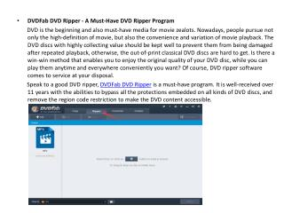 DVDFab DVD Ripper-A Must-Have DVD Ripper Program
