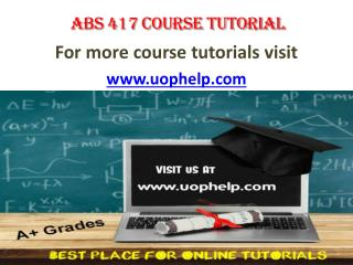 ABS 417 ACADEMIC COACH / UOPHELP