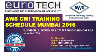 AWS CWI Training Schedule in Mumbai, India 2016