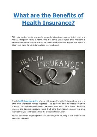 What are the benefits of Health Insurance - Bharti AXA GI