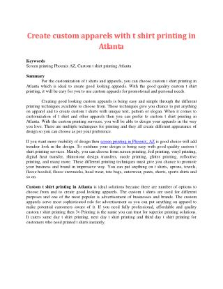 Create custom apparels with t shirt printing in Atlanta