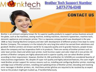 Brother Customer Support Number 1-877-776-4348 Toll free