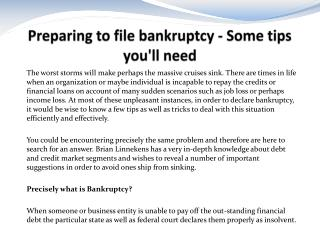 Preparing to file bankruptcy - Some tips you'll need